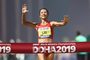 Liu Hong, women's 20km race walk champion in Doha (Getty Images)