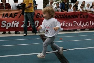 This young sprinter has definitely watched Usain Bolt on TV! At a 'mini-athletics' event in Split (Split 2010 organisers)