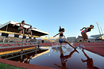 Genevieve LaCaze in action in the steeplechase at the Australian Championships (Getty Images)