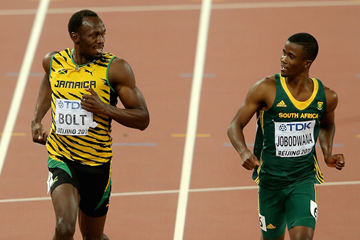 Anaso Jobodwana and Usain Bolt ()