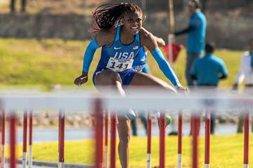 Tonea Marshall on her way to winning the 100m hurdles at the NACAC U23 Championships (Roberto Carlos Castrejón-Pérez)