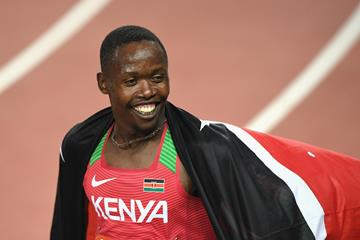 All smiles - Wycliffe Kinyamal Kisasy after winning the Commonwealth 800m title (Getty Images)