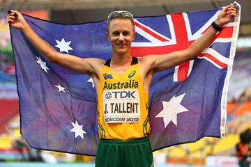 Jared Tallent after the men's 50km race walk at the IAAF World Championships, Moscow 2013 (Getty Images)