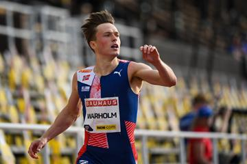Karsten Warholm wins the 400m hurdles at the Diamond League meeting in Stockholm (AFP / Getty Images)
