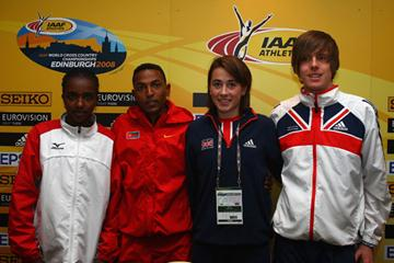 Tirunesh Dibaba (ETH), Zersenay Tadese (ERI), Emily Pidgeon (GBR) and David Forrester (GBR) at the IAAF press conference in Edinburgh. (Getty Images)