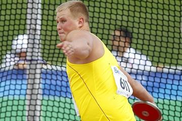 Andrius Gudžius of Lithuania dominates the Discus final, winning gold with 63.78m (Getty Images)