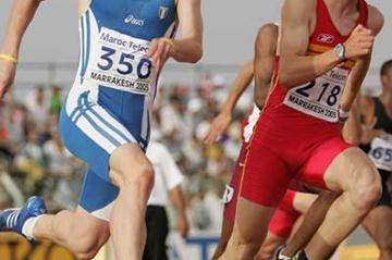 Matteo Galvan of Italy (left) in action during the Boys' 200m semi-final (Getty Images)