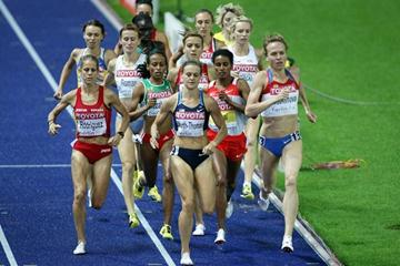 (L-R) Natalia Rodriguez of Spain, Christin Wurth-Thomas of the United States and Natalya Evdokimova of Russia compete in the women's 1500m semi-finals in Berlin (Getty Images)