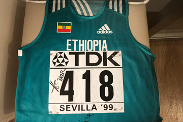 Haile Gebrselassie's vest and number from the IAAF World Championships Seville 1999 (IAAF)
