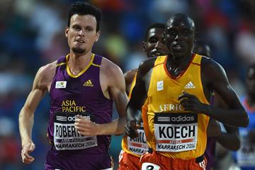 Zane Roberson and Isiah Koech during the men's 5000m at the IAAF Continental Cup, Marrakech 2014 (Getty Images)
