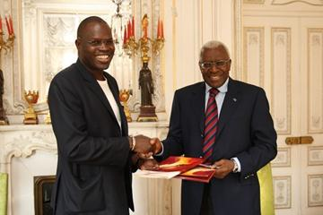 Dakar Mayor Khalifa Sall meets with IAAF President Lamine Diack at IAAF HQ (Philippe Fitte)