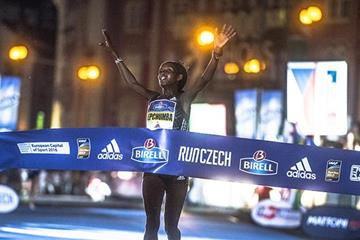 Violah Jepchumba winning the 2016 Birell Prague Grand Prix (organisers)