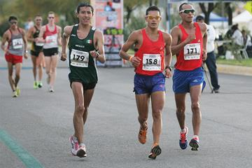 Eider Arevalo (centre) on his way to 20km victory in Chihuahua (Organisers and Conade / Mexican Sports Institute)
