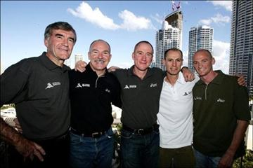 A 2006 photo of a gathering of the five fastest Australian marathoners of all time (from left): Derek Clayton, Robert de Castella, Pat Carroll, Steve Moneghetti and Lee Troop (Adam Head)