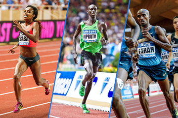 Genzebe Dibaba, Brimin Kipruto and Mo Farah in action at the IAAF Diamond League meeting in Monaco (Philippe Fitte)