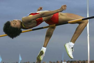 Xingjuan Zheng of China during the women's High Jump final (Getty Images)