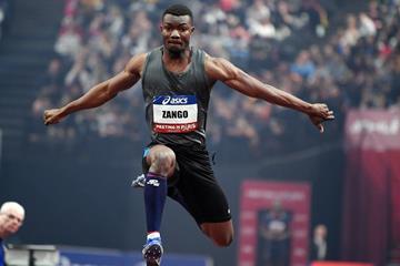 Hugues-Fabrice Zango flies to an African indoor triple jump record in Paris (MSP/FFA)