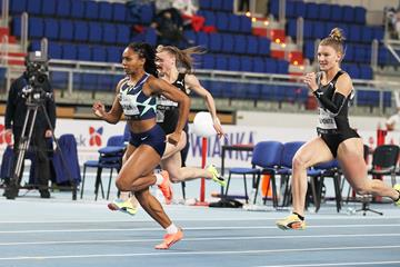 Javianne Oliver wins the 60m at the World Athletics Indoor Tour Gold meeting in Torun (Jean-Pierre Durand)