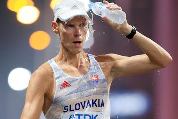 Matej Toth in the 50km race walk at the World Athletics Championships in Doha (Getty Images)