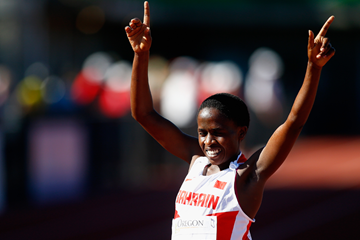 Ruth Jebet celebrates her victory (Getty Images)