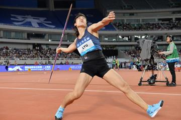 China's Lyu Huihui, winner of the javelin at the IAAF Diamond League meeting in Shanghai (Errol Anderson)