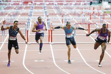 Orlando Ortega, Aries Merritt, Pascal Martinot-Lagarde and David Oliver in the 110m hurdles (Getty Images)