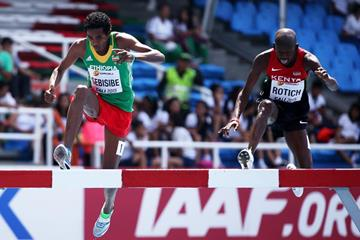 Wogene Sebisibe (left) and Geoffrey Rotich at the IAAF World Youth Championships, Cali 2015 (Getty Images)