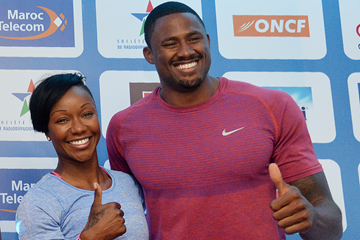Carmelita Jeter and David Oliver at the press conference for the IAAF Diamond League meeting in Rabat (Kirby Lee)