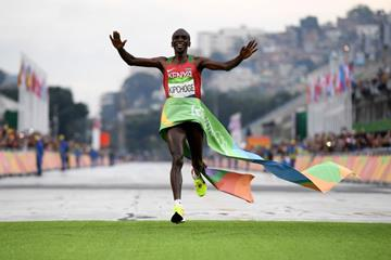 Eliud Kipchoge wins the marathon at the Rio 2016 Olympic Games (Getty Images)