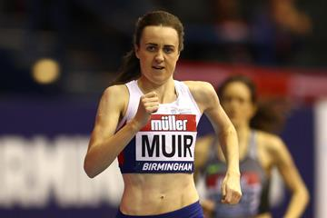 Laura Muir en route to her 1000m victory at the Muller Indoor Grand Prix in Birmingham (Getty Images)