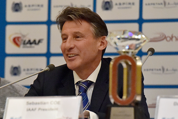 IAAF President Sebastian Coe at the pre-meeting press conference for the 2016 IAAF Diamond League meeting in Doha (Hasse Sjogren)