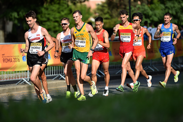 Ben Thorne leads the men's 20km at the IAAF World Race Walking Team Championships Rome 2016 (Getty Images)