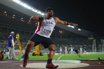Reese Hoffa on his way to Shot Put gold in Osaka (Getty Images)