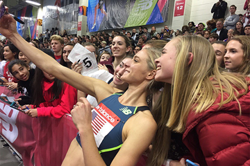 Emma Coburn with fans at the IAAF World Indoor Tour meeting in Boston (Organisers)