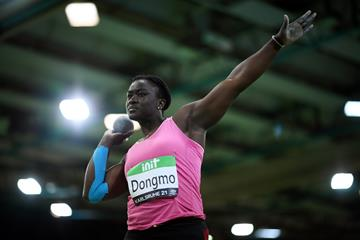 Auriol Dongmo, winner of the shot put at the World Athletics Indoor Tour meeting in Karlsruhe (Getty Images)