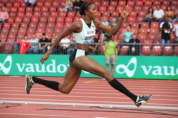 Shanieka Ricketts, winner of the triple jump at the IAAF Diamond League final in Zurich (Jiro Mochizuki)