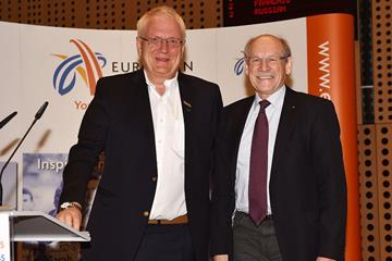Svein Arne Hansen (L) new President of European Athletics and Hansjorg Wirz (R) the outgoing President of European Athletics  (Getty Images)