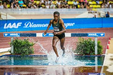 Beatrice Chepkoech on her way to winning the steeplechase at the IAAF Diamond League meeting in Monaco (Philippe Fitte)