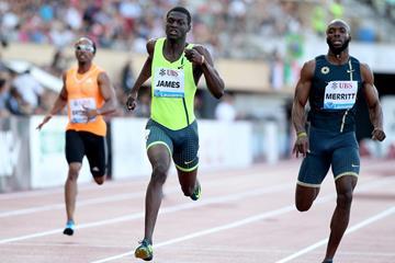 Kirani James winning the 400m at the 2014 IAAF Diamond League meeting in Lausanne (Giancarlo Colombo)