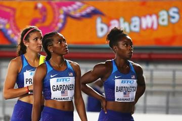 Jenna Prandini, English Gardner and Tianna Bartoletta of the USA after failing to finish in the final of the 4x100m in Nassau (Getty Images)