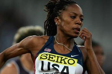 Sanya Richards en route to her 200 victory in Athens (Getty Images)