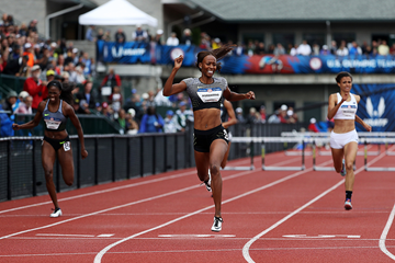 Dalilah Muhammad wins the 400m hurdles at the US Olympic Trials (Getty Images)