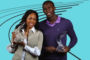 Sanya Richards-Ross and Usain Bolt with their 2009 Athlete of the Year awards (Getty Images)