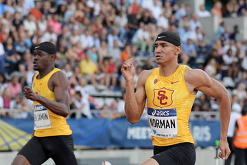 Michael Norman (right) and Rai Benjamin (left) in the 200m at the IAAF Diamond League meeting in Paris (Kirby Lee)