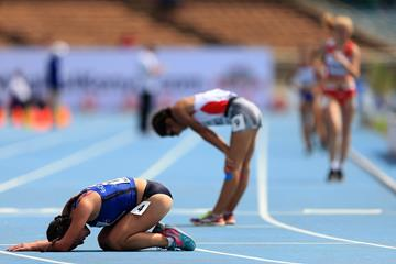 Glenda Morejon after winning the girls' 5000m race walk at the IAAF World U18 Championships Nairobi 2017 (Getty Images)