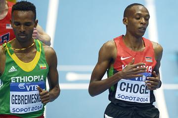 Augustine Choge and Dejen Gebremeskel at the IAAF World Indoor Championships (AFP / Getty Images)