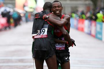 Geoffrey Kamworor and Bedan Karoki at the end of the men's race at the IAAF/Cardiff University World Half Marathon Championships Cardiff 2016 (Getty Images)