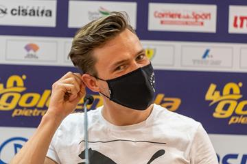 Karsten Warholm at the pre-meet press conference in Rome (Chris Cooper)