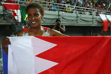 Maryam Yusuf Jamal of Bahrain celebrates winning the gold medal in the 1500m Final (Getty Images)