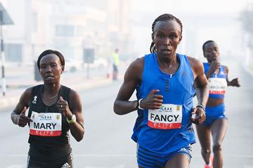 Fancy Chemutai on her way to winning the RAK Half Marathon (Victah Sailer / organisers)